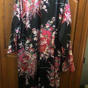 Red and black real kimono